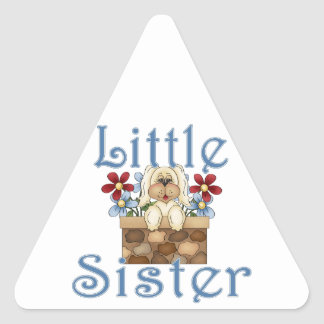 Little Sister Fluffy Pup 3 Triangle Sticker