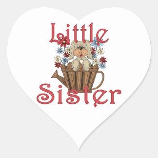Little Sister Fluffy Pup 4 Heart Sticker