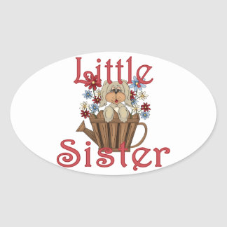 Little Sister Fluffy Pup 4 Oval Sticker
