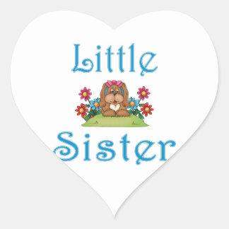 Little Sister Fluffy Pup 5 Heart Sticker