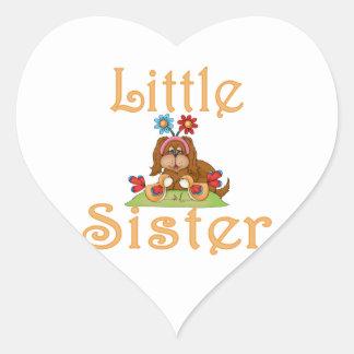 Little Sister Fluffy Pup 6 Heart Sticker