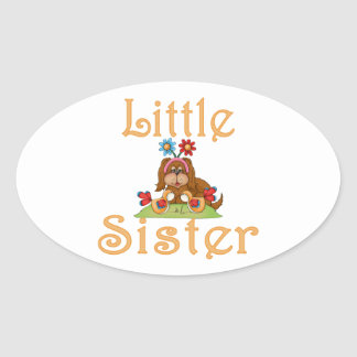 Little Sister Fluffy Pup 6 Oval Sticker