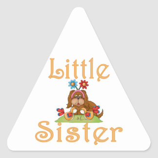 Little Sister Fluffy Pup 6 Triangle Sticker
