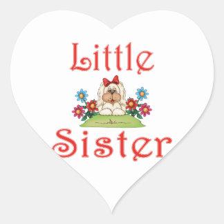 Little Sister Fluffy Pup 7 Heart Sticker