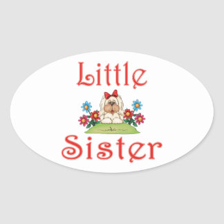 Little Sister Fluffy Pup 7 Oval Sticker