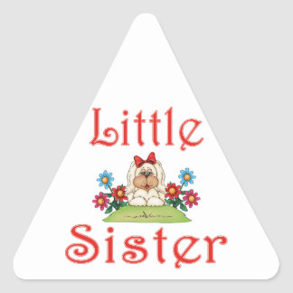Little Sister Fluffy Pup 7 Triangle Sticker