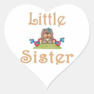 Little Sister Fluffy Pup 8 Heart Sticker