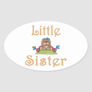Little Sister Fluffy Pup 8 Oval Sticker