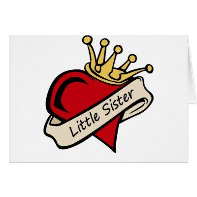 Little Sister Heart Tattoo Greeting Card by tshirtfun