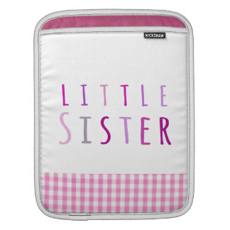 Little sister in pink iPad sleeve