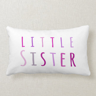 Little sister in pink throw pillow
