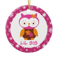 Little Sister Owl Sibling Keepsake Ornament Gift