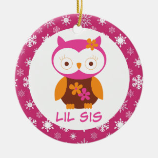 Little Sister Owl Sibling Keepsake Ornament Gift