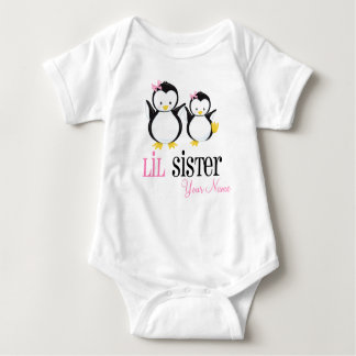 Little Sister Penguin Personalized Pink Shirt