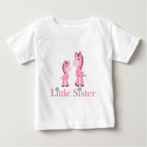 Little Sister Pink and Brown Giraffes Baby T-Shirt