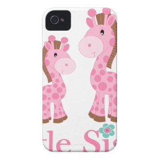Little Sister Pink and Brown Giraffes Case-Mate iPhone 4 Cases