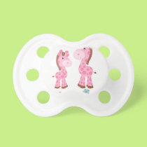 Little Sister Pink and Brown Giraffes Pacifier