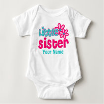 Little Sister Pink and Teal Personalized Shirt
