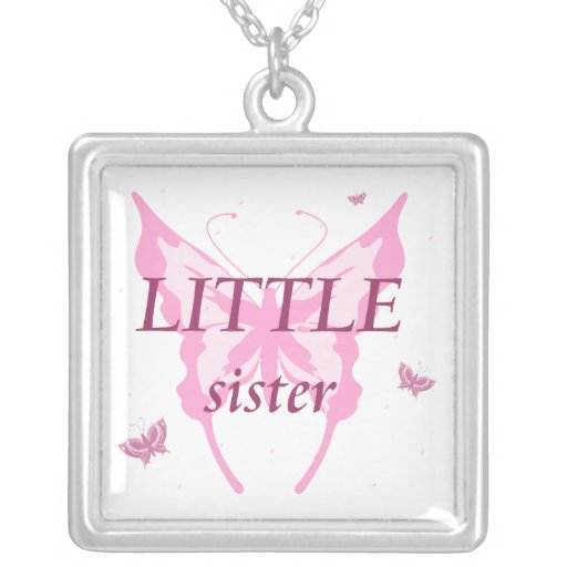 Little sister pink butterfly girl's necklace