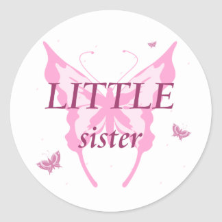 LITTLE sister pink butterfly girl's stickers