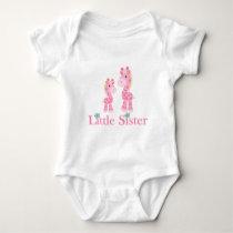 Little Sister Pink Giraffes Baby Bodysuit