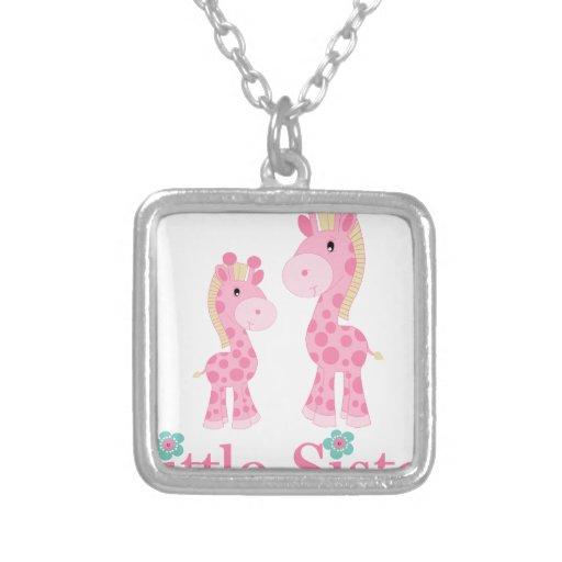 Little Sister Pink Giraffes Necklace