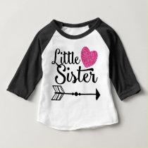 Little Sister Pink Heart Arrow Raglan Baby T-Shirt