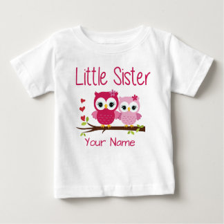 Little Sister Pink Owl Personalized T Shirt