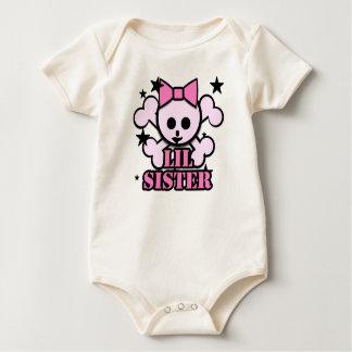 Little Sister Pink skull Baby Bodysuit