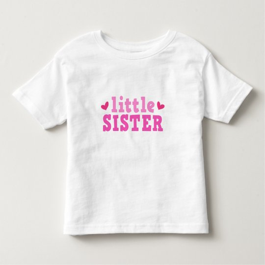 Little sister pink text with hearts cute custom toddler t-shirt