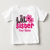 Little Sister Pink Zebra Personalized Shirt