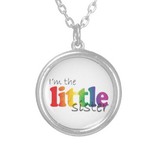 Little Sister - rainbow flowers Round Pendant Necklace