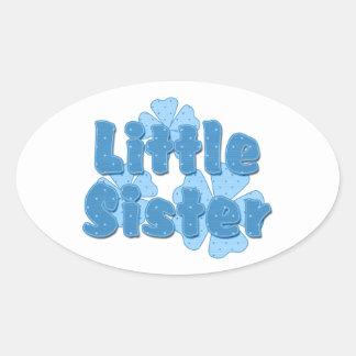 Little Sister Retro Flowers Blue 2 Oval Sticker