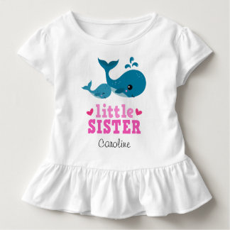 Little sister t-shirt with cute whales and name