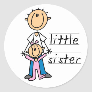 Little Sister with Big Brother T-shirts and Gifts Classic Round Sticker
