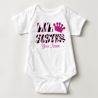 Little Sister Zebra Print Personalized T-shirt