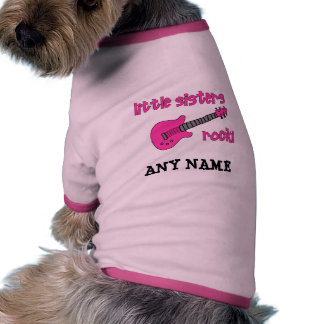 Little Sisters Rock! with Pink Guitar Doggie Tee Shirt