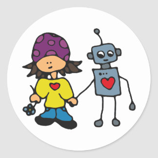 Little Skater Girl and Robot Love Classic Round Sticker