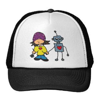 Little Skater Girl and Robot Love Trucker Hats