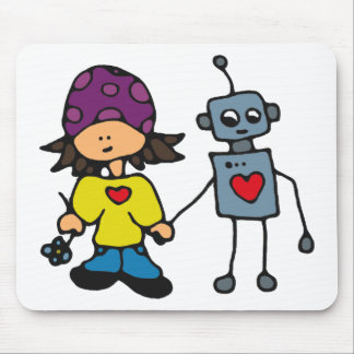 Little Skater Girl and Robot Love Mouse Pad