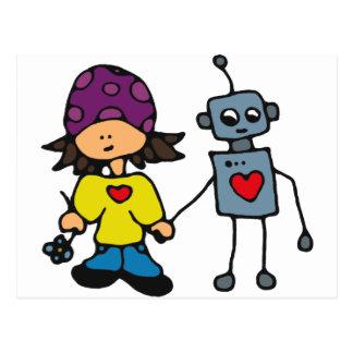 Little Skater Girl and Robot Love Postcard