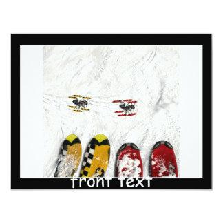 "Little Skiing Ants 4.25"" X 5.5"" Invitation Card"