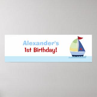 Little Skipper Sailboat Custom Banner Poster Print