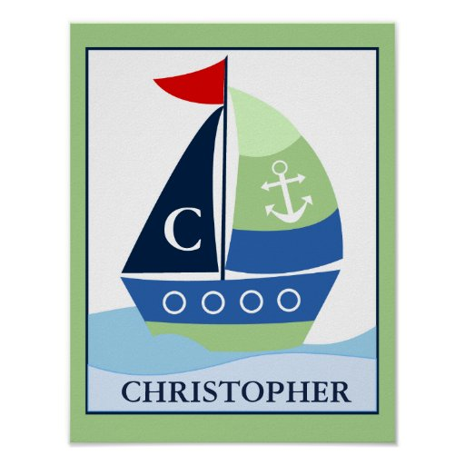 Little Skipper Sailboat Custom Name Print