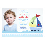 Little Skipper Sailboat *PHOTO* Birthday 5x7 Personalized Announcements