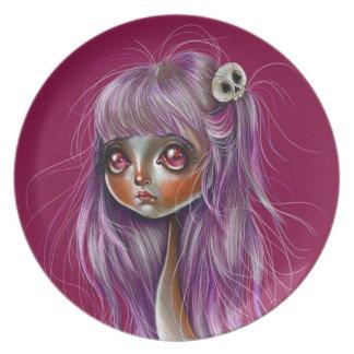 Little Skull Girl Pop Surrealism Plate