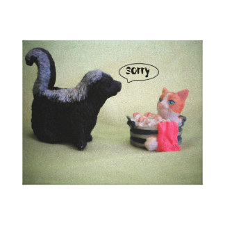 little Skunk says Sorry Canvas Print