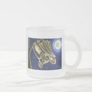 Little sleepy bat frosted glass coffee mug