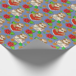 Little Sloth Valentine and Roses Wrapping Paper