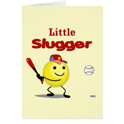 Little Slugger Baseball Smiley Greeting Cards